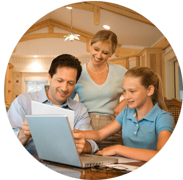 Kid learning with parents